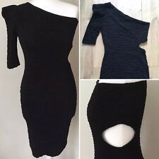 Black One Shoulder Side Cut Out Ribbed Bodycon Party Dress 14 UK By River Island