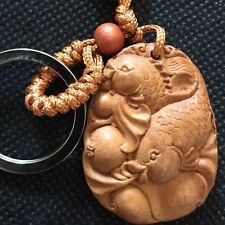 Wood Wooden Koi carp Key Chain Ring Buddhist Pendant Charm Oriental Chinese Fish