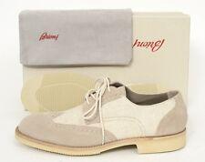 Mens BRIONI Oyster Suede & Linen Brogue Wingtip Oxford Vibram Shoes NIB 10 D