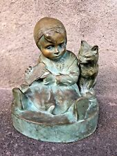 Bronze Art Deco Enfant et chat
