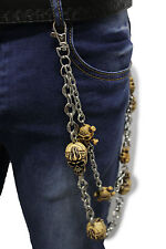 Men Wallet Chains Silver Metal Jeans KeyChain Rock Biker Pirate Skull Bone Charm