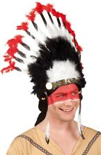 Mens Ladies Red Native Indian Feather Headdress Fancy Dress Costume Outfit Hat