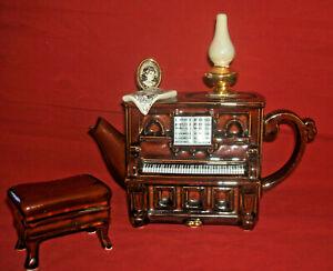 SWINESIDE TEAPOTTERY PARLOUR PIANO AND STOOL TEAPOT