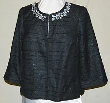 JOAN RIVERS  SO PRETTY  CELEBRATE IN STYLE EMBELLISHED JACKET BLACK CRYSTALS LG