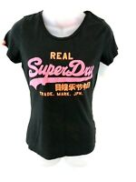 SUPERDRY Womens T Shirt Top S Small Grey Cotton & Polyester