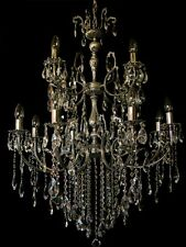 Large Renaissance Chandelier With 12 Lghts 3 Floors Real Crystals.antique Silver