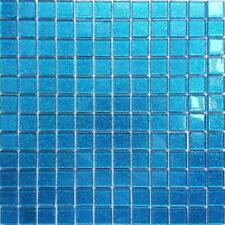 Blue Glitter Glass Mosaic Tiles Sheets 300x300x4mm (MT0008)