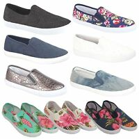 Ladies Slip On Canvas Espadrilles Pumps Plimsolls Beach Casual Trainers Shoes