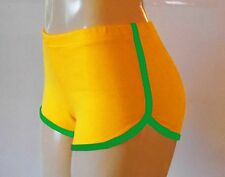 Gold Retro Running Shorts with Neon Green Trim Small