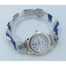 GORGEOUS CP Signed .925 Sterling Silver Natural Blue Denim Lapis Wristwatch
