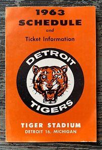 Vintage 1963 DETROIT TIGERS Baseball Team Issue POCKET SCHEDULE & Ticket Info