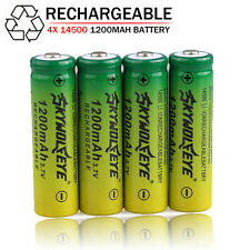 4PCS 3.7V 1200mAh 14500 AA Li-ion Rechargeable Battery For Flashlight Torch Lot