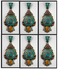 Tribal Lot of 6 pcs Sterling Silver Pendant Turquoise Necklace Handmade PP90