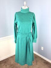 Vintage TALBOTS S 6 8 Emerald Green Wool knit sweater dress Midi A Line EUC