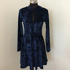 Angie S Skater Dress Blue Velvet Long Sleeve Key Hole Full Skirt Party Festival