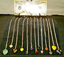 <12Pc. BEAUTIFULLY DESIGNED HEART NECKLACES> CHARM Pendants+GOLD $100 Rep.