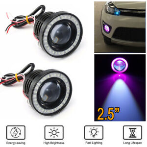 "2.5"" Car SUV COB LED Fog Light Projector Purple Angel Eyes Halo Ring DRL Lamp"