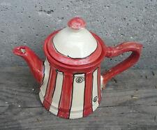 """Kanne Saft Wasser Tee Teekanne """"1920""""   in rote Streifen teapot"""