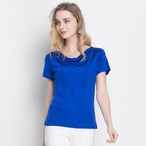 100% Silk Knit Women's Cowl Neck Short Sleeves Vest Top Blouse