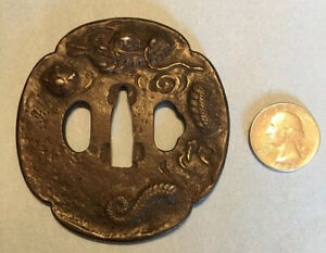 Edo Era Japanese Iron And Gold Inlay Mito School Tsuba/Sword Katana Guard
