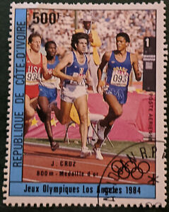 Stamp Ivory Coast SG827 1984 500Fr Olympics 800m Gold J. Cruz Used
