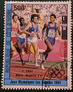 Stamp Ivory Coast SG827 1984 500Fr Olympics 800m Gold J. Cruz Used