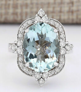 IGI CERTIFIED 3.60CT NATURAL Aquamarine SOLID 14K White Gold Diamond Ring