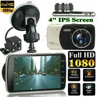 4'' Dash Cam Recorder Dual Lens Camera HD 1080P Car DVR Vehicle Video G-Sensor p