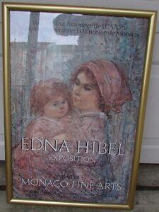 1979 Edna Hibel Exhibition con Cornice Poster Galerie Monaco Sottile Arti -