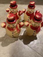 "4 Vintage Hard Plastic Cute Happy Snowmen Christmas Decorations 8"" Tall Lighted?"