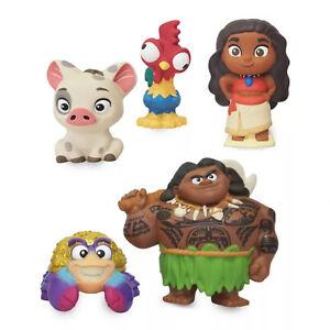 Disney Store New Authentic Moana Bath Toy Set, Maui, Pua, Hei-Hei, and Tamatoa