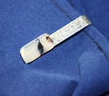Vintage Tie Bar Clasp With Polished Stone Milky White Banded Handmade Estate