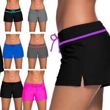 New Women Ladies Swim Pool Shorts Swimming Bikini Bottoms Boy Style Swimwear