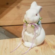 White Easter Bunny Rabbit With Ribbon Around Neck Porcelain Vtg - Swanky Barn