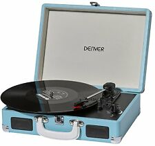 Denver VPL-120 Blue Record Player 3 Speed USB Software Included Stereo Speakers