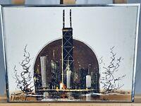 EDUARDO OROPEZA Vintage Mid-Century Modern Chicago Skyline Oil on Canvas