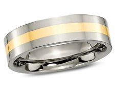 Mens 6mm Titanium Wedding Band with 14 Gold Inlay