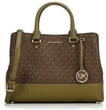 New Michael Kors Savannah Signature Satchel BRN/Olive Acorn gold Pvc mono bag