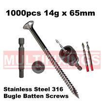 1000pcs - 14g x 65mm Stainless Steel SS316 Bugle Head Batten Screws + SmartBit