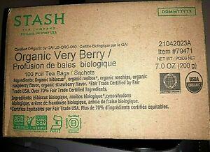 Stash Tea Company Organic Very Berry 100 Count Foil Tea Bags Expires 04/2023