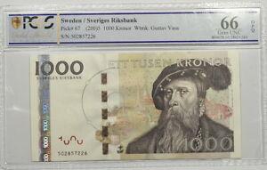 Sweden 2 x Consecutive 1000 Kronor 2005 Banknote PCGS GEM UNC 66 Pick 67 TOP POP