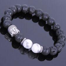 DF5 Natural Lava Stone Beads Black White & Silver Buddha Stretch Bracelet