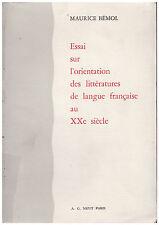 BEMOL Maurice - ESSAI SUR L'ORIENTATION DES LITTERATURES DE LANGUE FRANCAISE