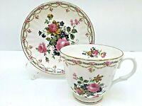 Royal Castle Fine Bone China TEACUP & SAUCER Pink, Blue & Yellow Flowers England