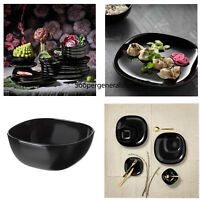Dinner Set Dinnerware Square Black Plate Bowl Tableware 12 18 Pc Service Crokery