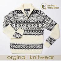 Mens Chunky Warm Sweater Zip Neck Knitted Fairisle Jumper Cream Beige Stylish