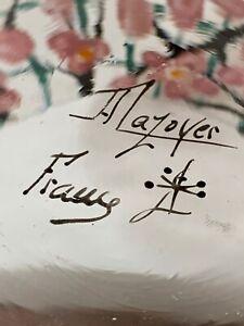 MAZOYER VASE FLORAL JAPONISANT ART DECO PATE DE VERRE EMAILLEE ENAMELED GLASS