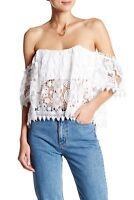 Tularosa NEW $168 Amelia Crochet Lace Cropped Blouse