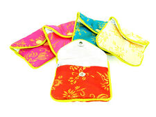 "Silk Jewelry Chinese Pouch Bag, Assorted Colors W/Zipper - 3 1/2"" x 3"" 12PCS/PK"