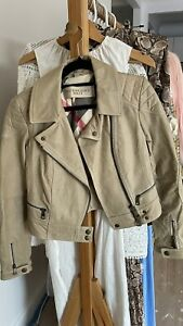 Burberry Brit Beige Colour Quilted Zipper Moto Leather Jacket UK 8